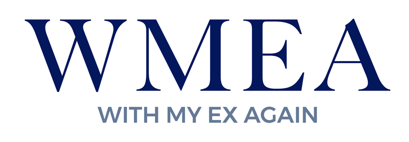 With My Ex Again logo - Letters WMEA with a smart font